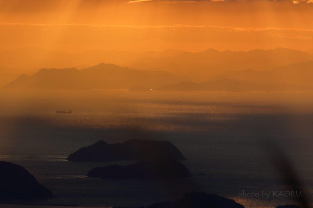 生石高原 すすき 夕日