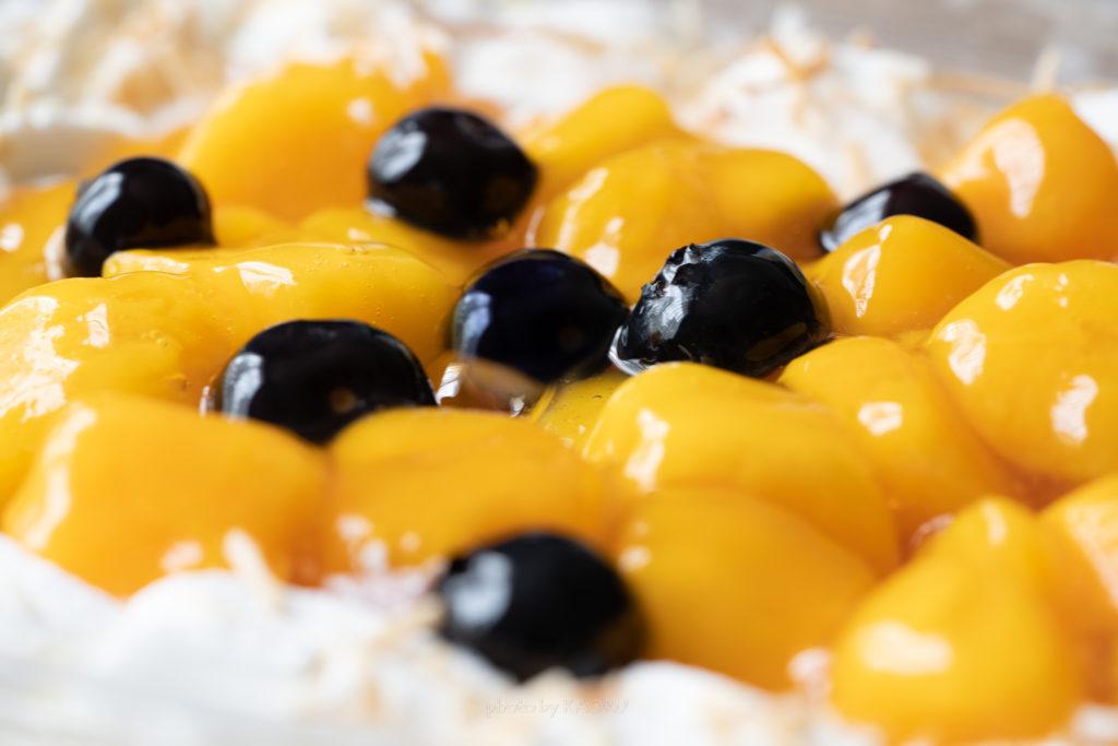 マンゴームーススコップケーキの表面